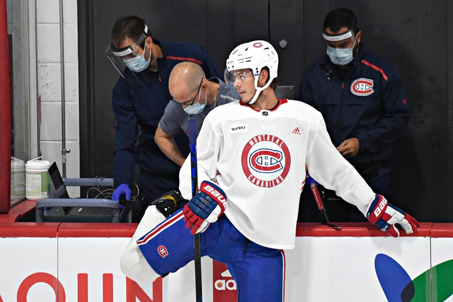 15 juillet 2020. Journée d'entraînement pour Jesperi Kotkaniemi et le Canadien de Montréal avant le début des séries éliminatoires tenues dans un contexte unique.