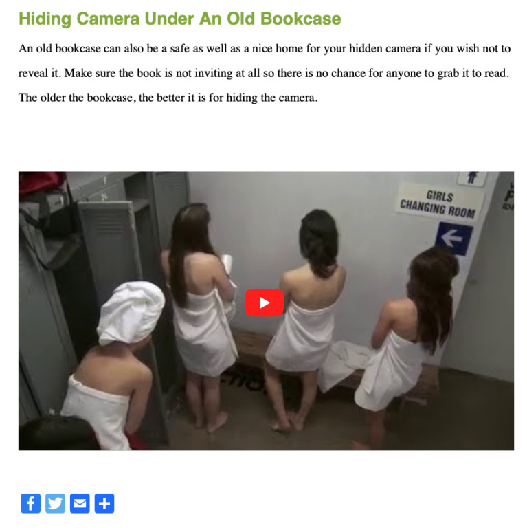 Une page du site NorcoAlarms.com permet de cliquer sur un palmarès de caméras-espionnes en format vidéo, qu'on retrouve dans le compte d'un tiers sur YouTube.