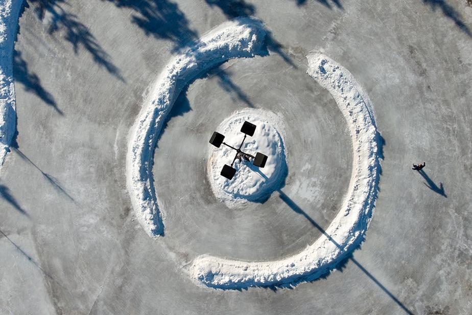 Vue aérienne de la patinoire du parc Michel-Chartrand àLongueuil