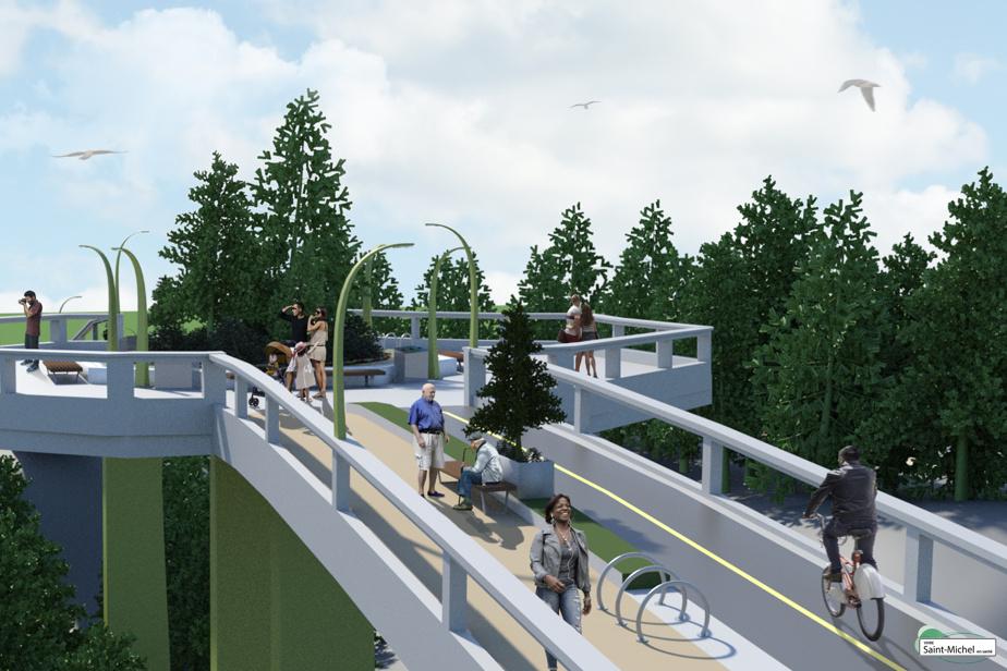 Projection de la passerelle en forme de «T» qui relierait le boulevard Robert d'est en ouest