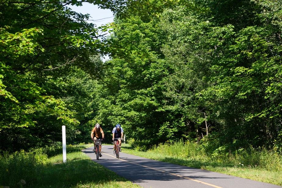 Le circuit suit plusieurs portions de la Route verte, qui fête cette année ses 25ans d'existence. Ici, on voit l'Estriade, bordée par de grands arbres, mais qui permet tout de même d'apprécier les rayons du soleil.