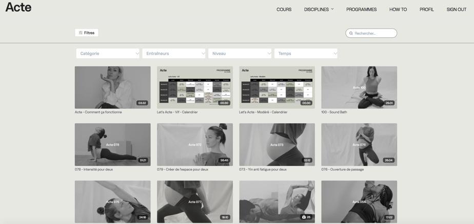 La page d'accueil d'Acte