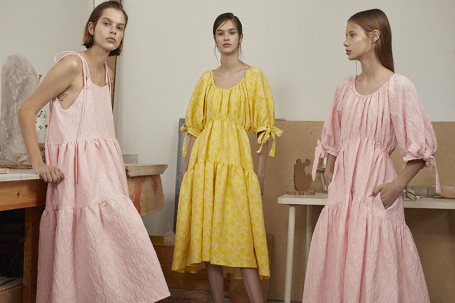 Ici, trois créations en jacquard: la robe Cece (490$) et la Grace en deux couleurs (650$).