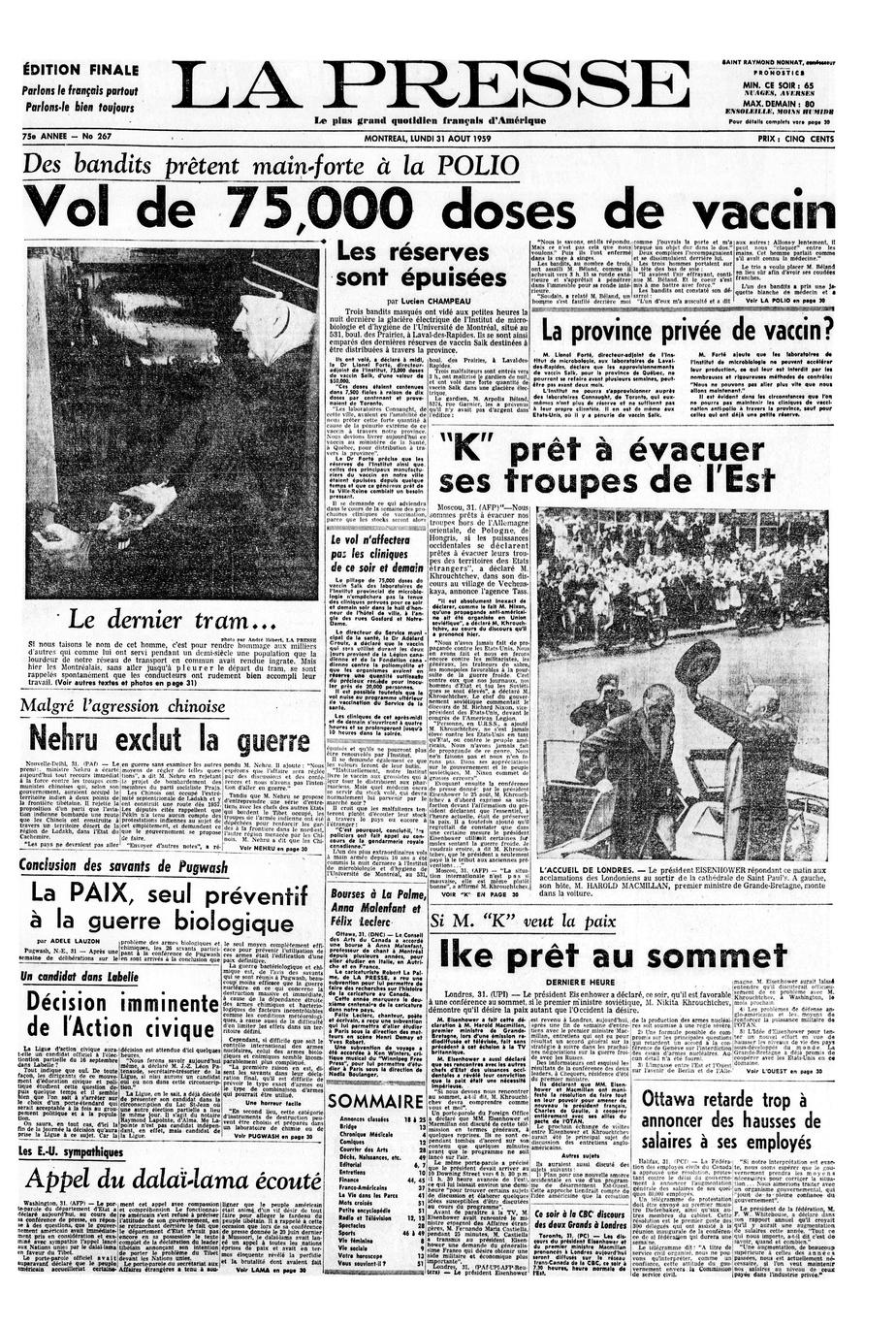Une de La Presse du 31août1959