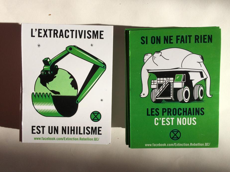 L'extractivisme est un humanisme, 2019, Clément de Gaulejac, autocollants dessinés pour le groupe Extinction Rebellion