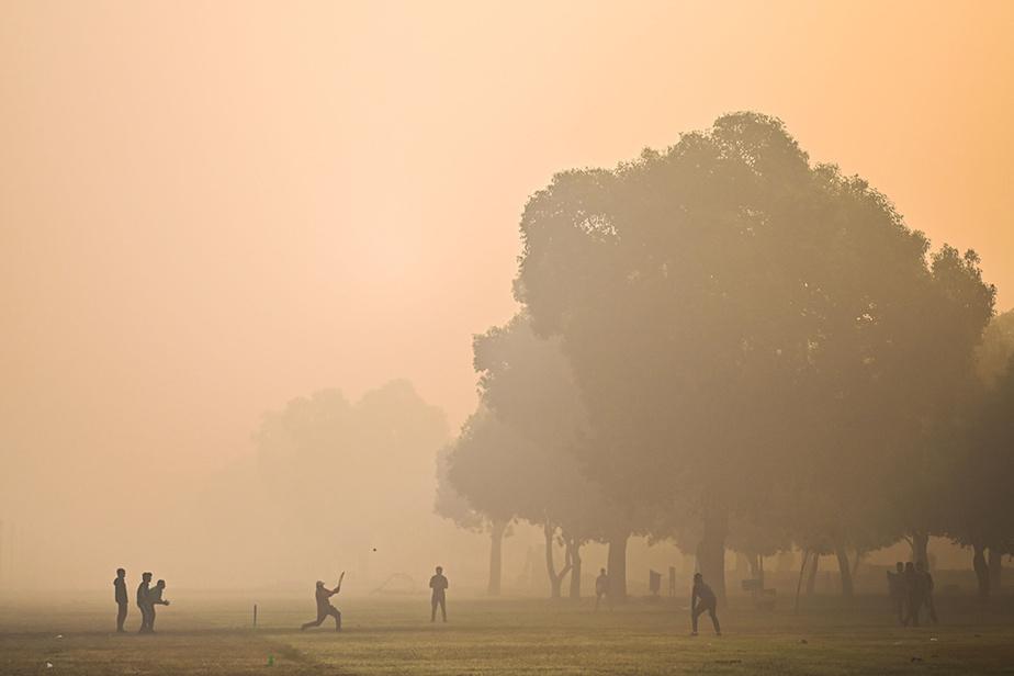 Partie de cricket dans le smog, dans un parc de NewDelhi