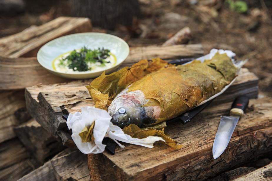La truite dans ses feuilles d'érable, avec la sauce gribiche aux œufs de la ferme