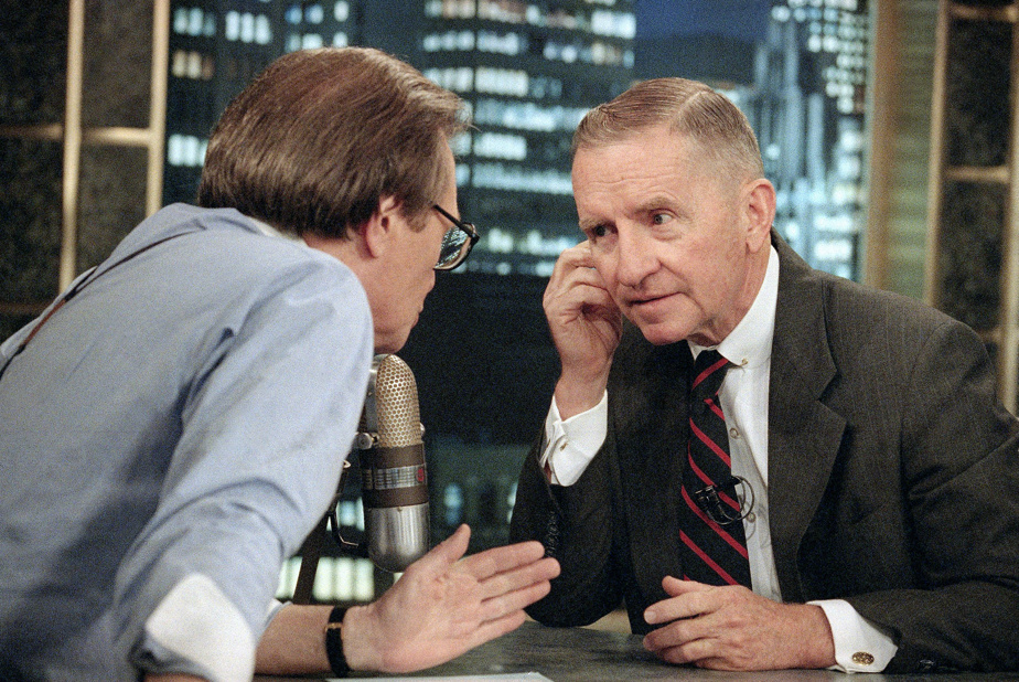 Larry King et le milliardaire Ross Perot en juillet1992