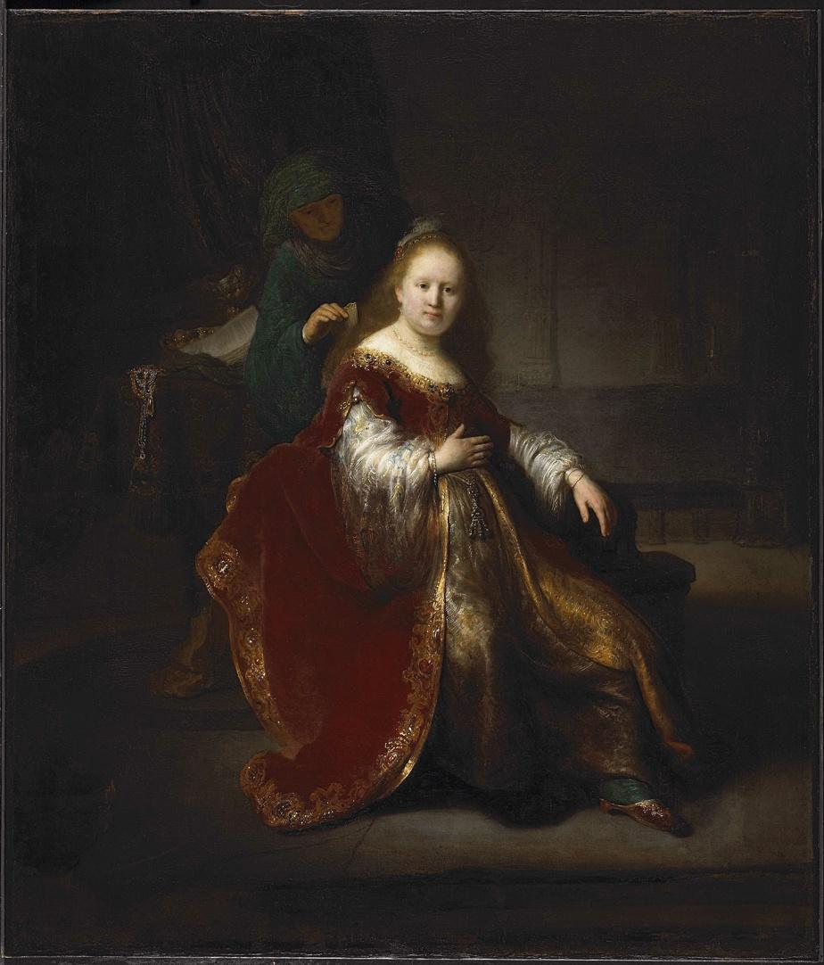 Héroïne de l'Ancien Testament, 1632-1633, Rembrandt van Rijn, huile sur toile, 109,2cm x 94,4cm. MBAC, Ottawa. Acheté en 1953.