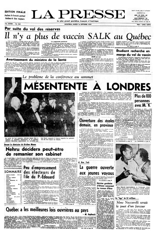 Une de La Presse du 1erseptembre1959