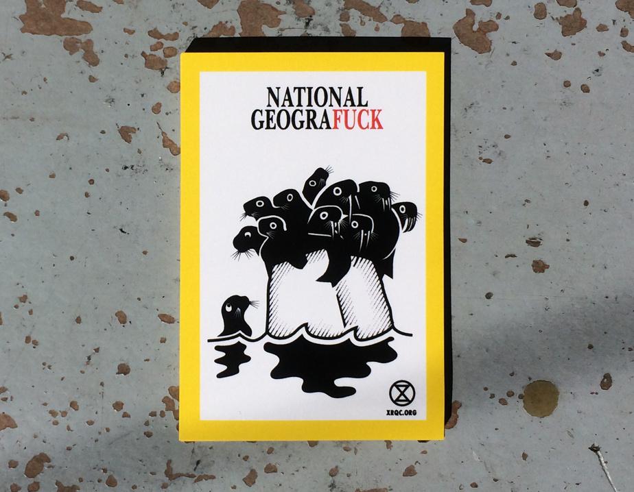 National Geografuck, 2019, Clément de Gaulejac, autocollant dessiné pour le groupe Extinction Rebellion