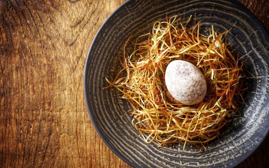 Un œuf déposé sur un nid de lanières croustillantes de poireau