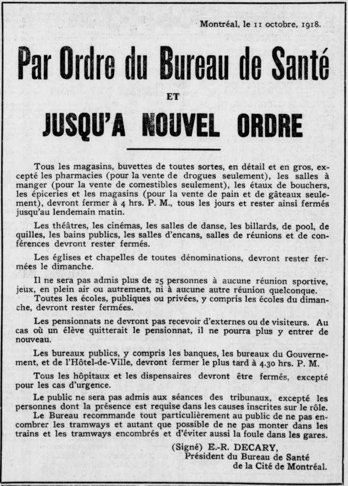 Ordre du Bureau de santé de la Cité de Montréal énonçant les restrictions d'ouverture de commerces et de rassemblements, publié le 11octobre1918