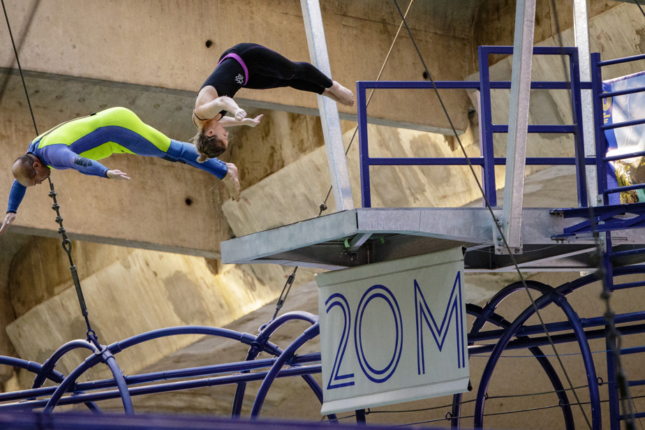 Yves Milord et Lysanne Richard en action au Centre sportif du Parc olympique