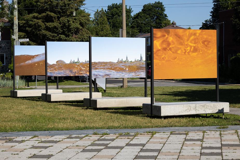 L'œuvre de Lisa Myers comprend des images de la surface de la rivière des Outaouais qui semble engloutir les édifices du parlement canadien. Elles évoquent un voyage imaginaire sous l'eau puis une réémergence «pour observer l'industrie, la gouvernance, le pouvoir, la vie quotidienne, la survie, les tempêtes et les vagues qui frappent le rivage».