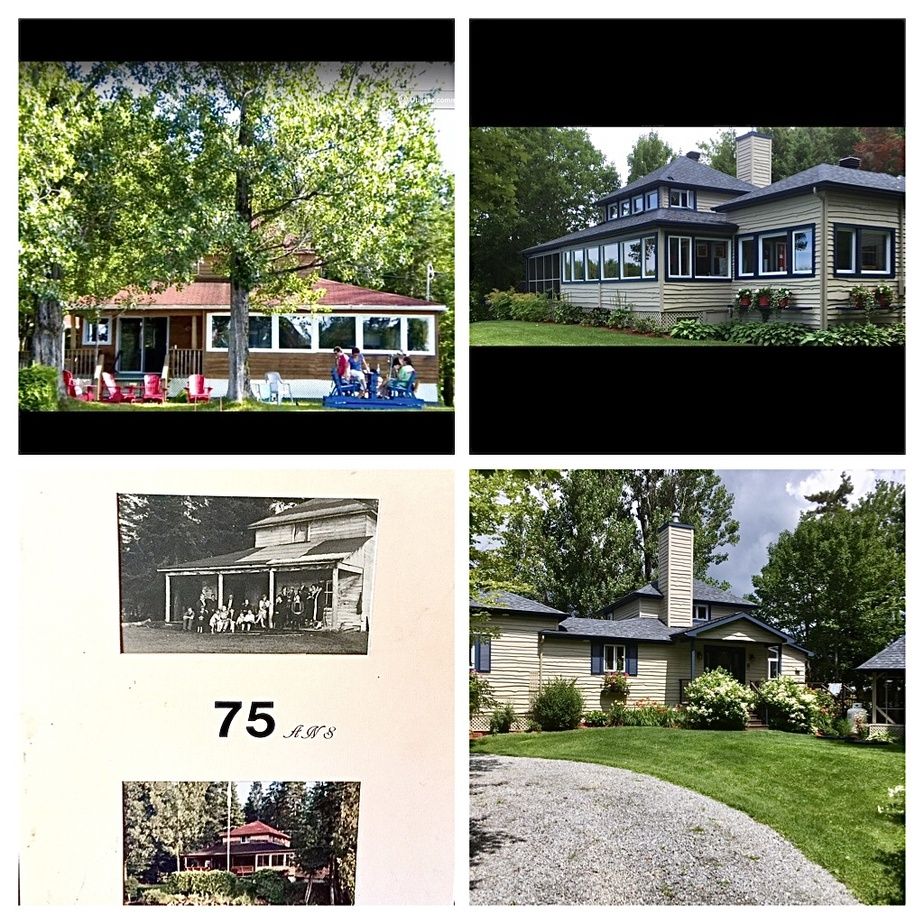 Ce photomontage permet de voir le chalet initial, en 1914 (photo en noir et blanc), la maison telle qu'elle était en 1989 (en bas à gauche), en 2012 (en haut à gauche) et actuellement (les deux photos de droite).
