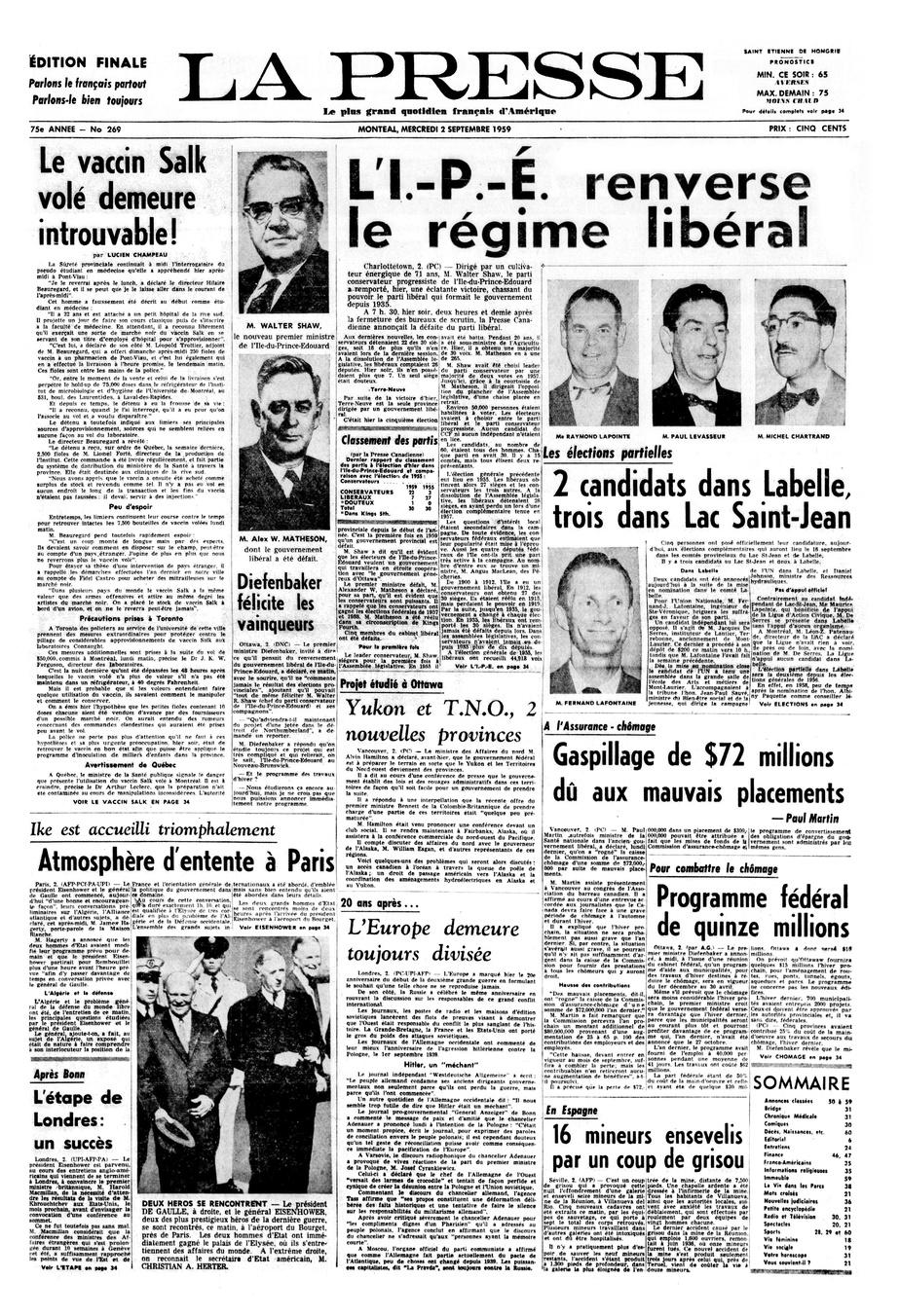 Une de La Presse du 2septembre1959