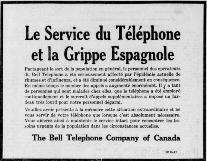 Annonce publiée dans La Presse, le 12octobre1918, par The Bell Telephone Company of Canada