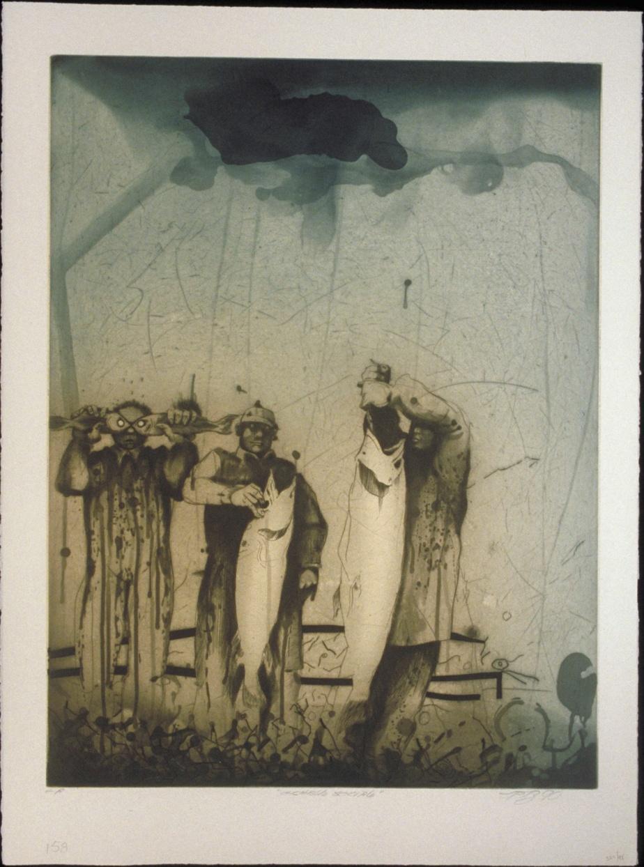 Échelle sociale, 1990, eau-forte, aquatinte, burin sur japon collé, 76 cm x 57cm