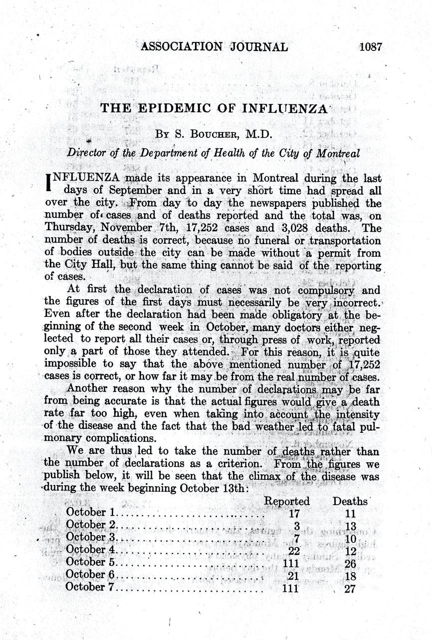 Première page de l'article publié par le DrSéraphin Boucher dans le Journal de l'Association médicale canadienne en décembre1918