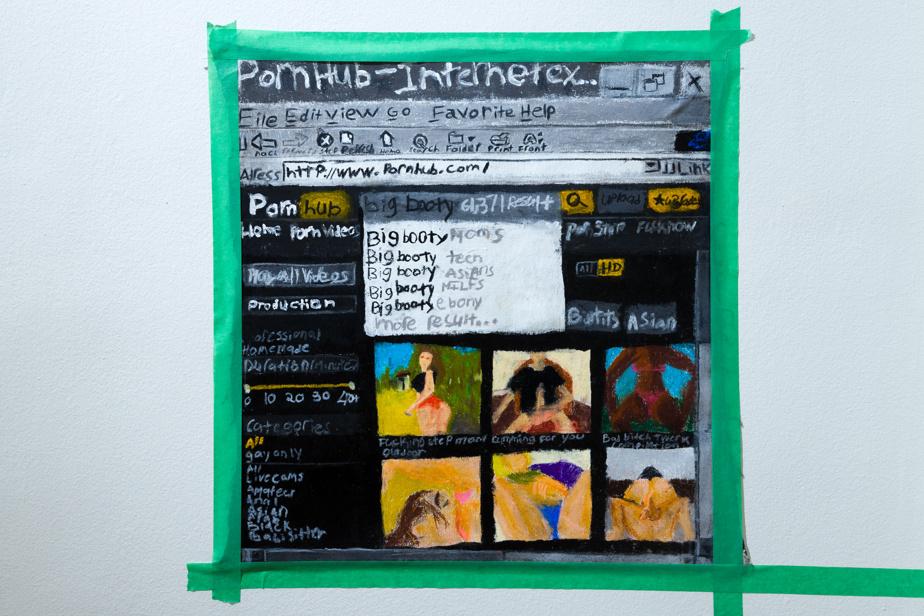 Pornhub| Internetexplorer.exe, 2020, Kevin Rameau, techniques mixtes sur toile, 22,8cm x 40,6cm.