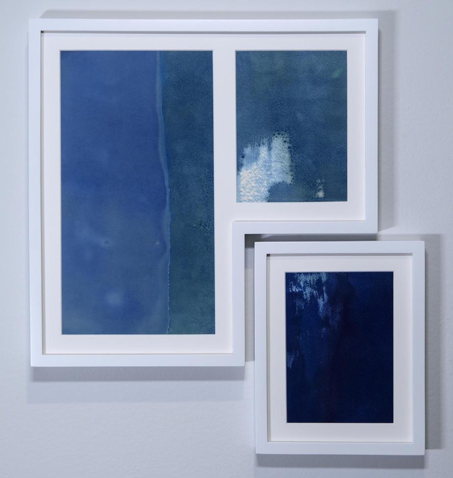 Entre le bleu, la nuit, 2020, Yann Pocreau, cyanotypes tirés à la lumière lunaire et solaire (8h; 1h15min)