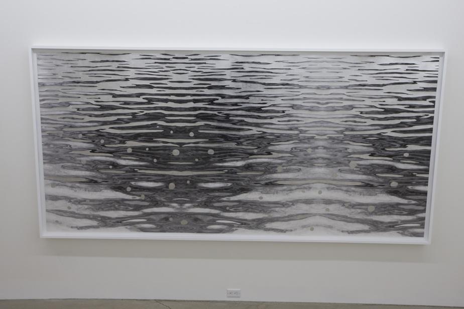 Une œuvre de la série Scintillements de Geneviève Cadieux, exposée en 2015 à la galerie René Blouin. La recherche du corps dans le paysage, avec des confettis d'aluminium insérés pour accentuer les reflets de l'eau.