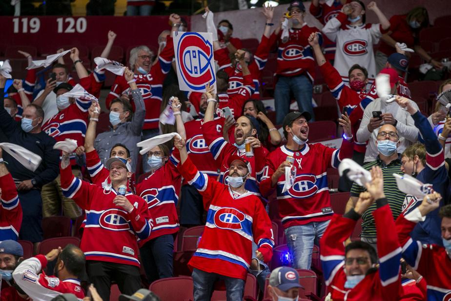 Les partisans célèbrent la victoire du Canadien après le but victorieux de Josh Anderson
