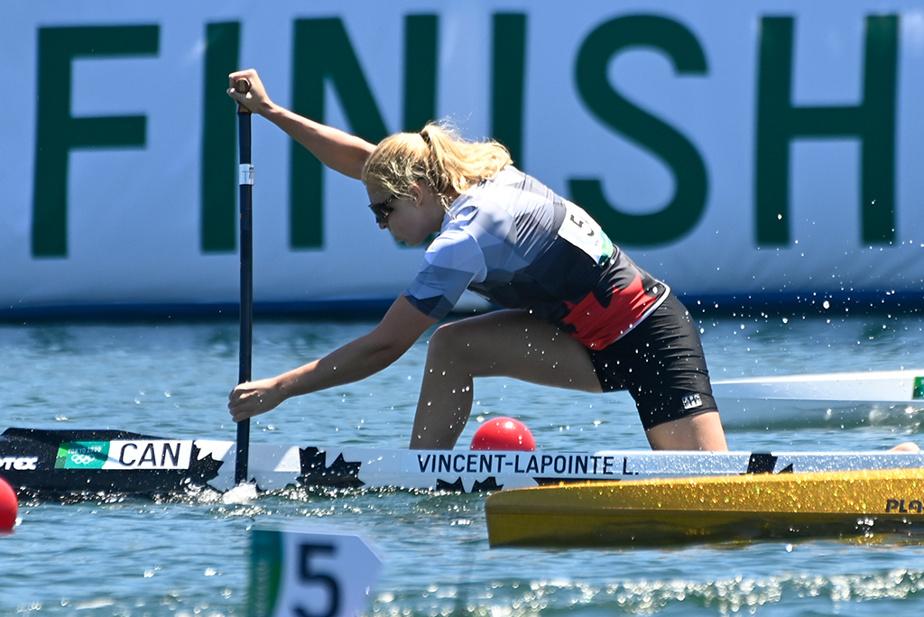 Laurence VincentLapointe en pleine action lors de la finale du C1200m