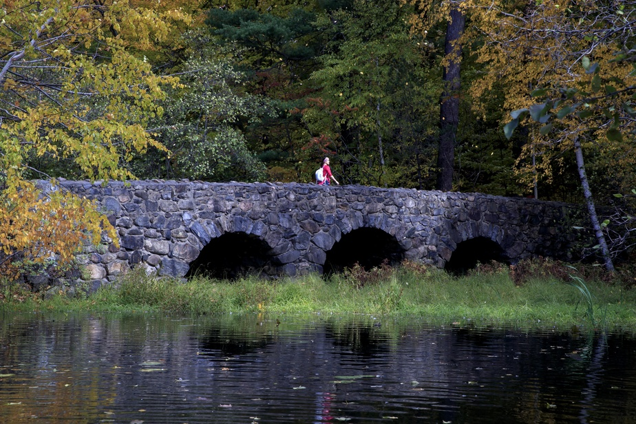 Les feuilles tombent sur le pont aux trois arches, situé aux abords du lac Seigneurial. Ce petit pont a été érigé par la famille Pease au tournant du siècle passé.