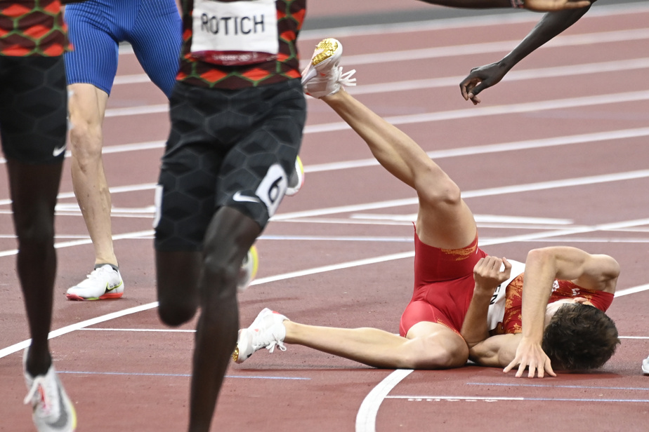 À la finale du 800m masculin, l'Espagnol Adrián Ben a fait une chute après avoir croisé le fil d'arrivée.