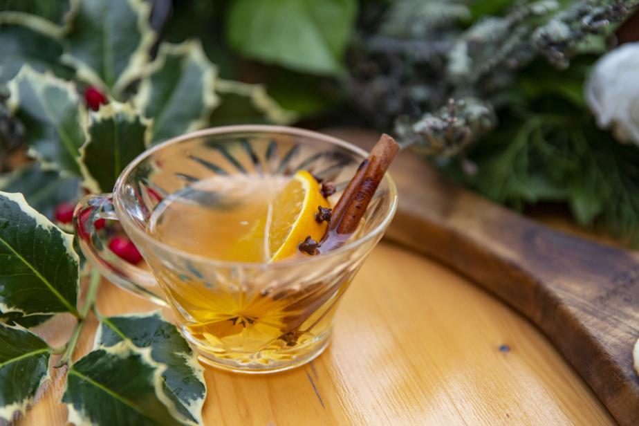 Une tasse de vin blanc chaud servi avec une tranche d'orange percée de clous de girofle et un bâton de cannelle.