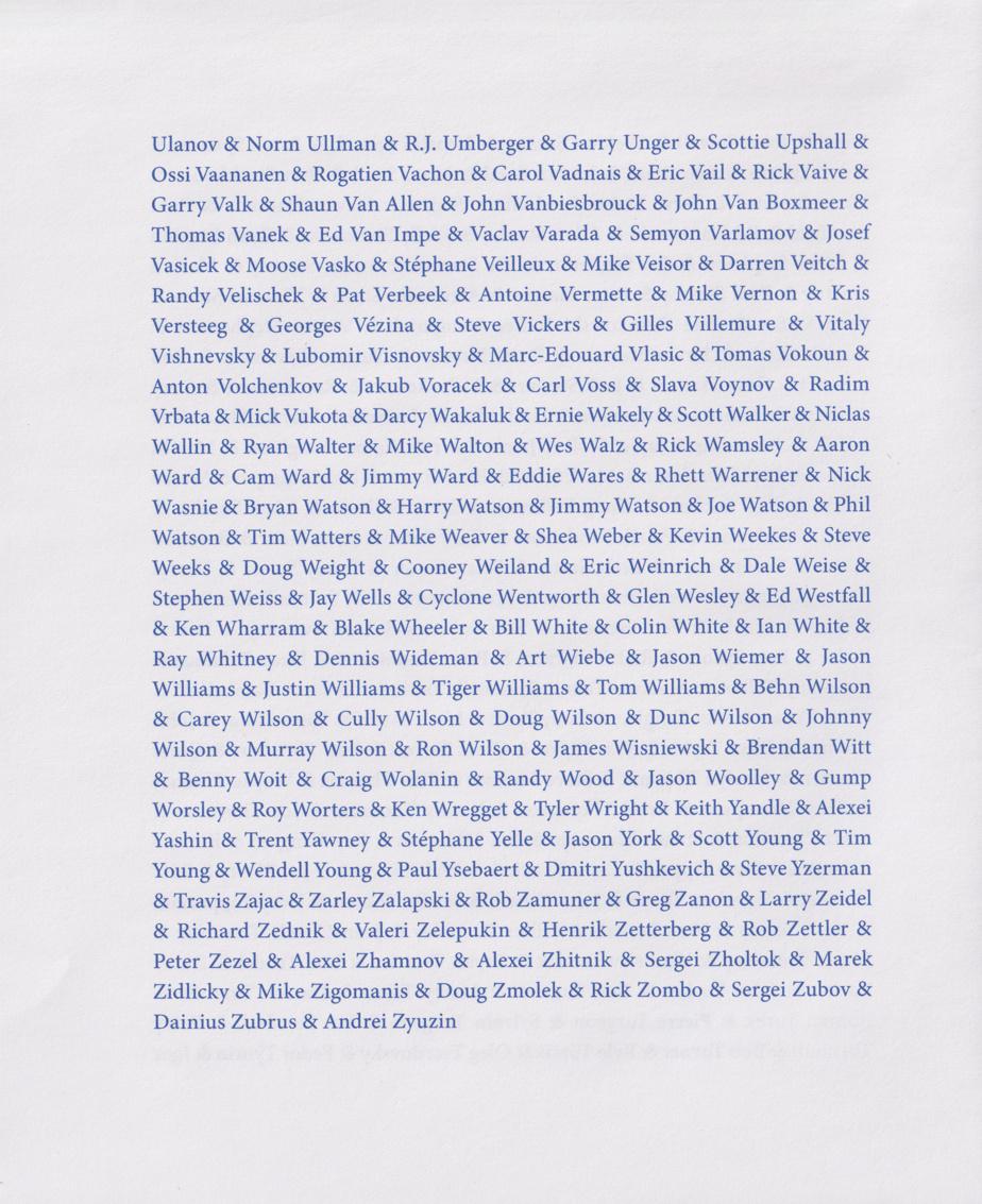 Dernière page de Hockeyeurs, liste de 2500joueurs de hockey de laLNH