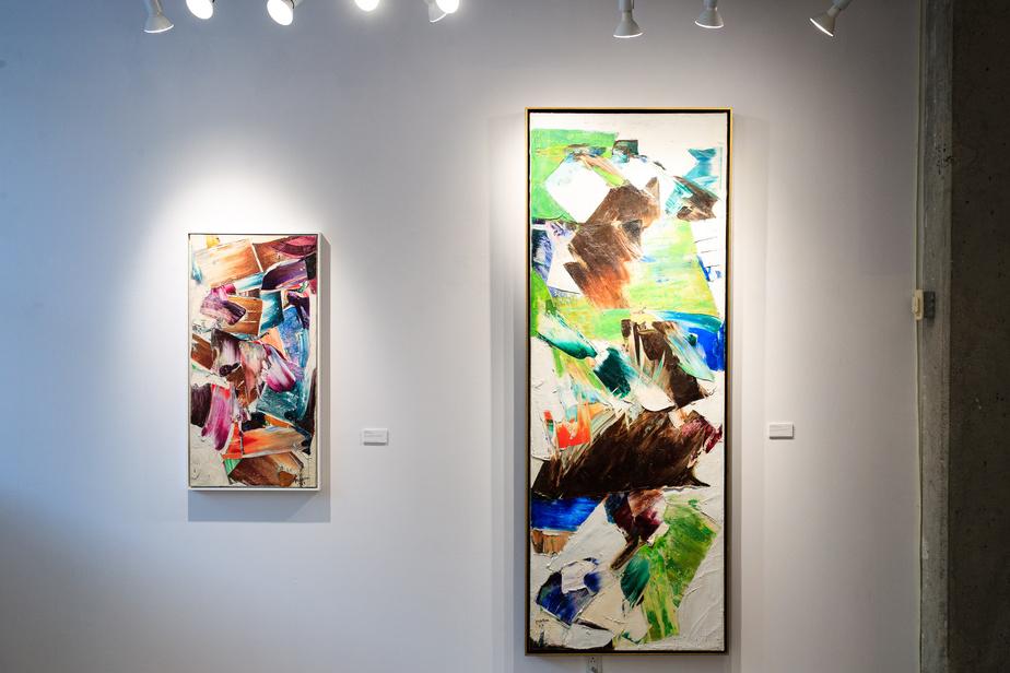 Les deux œuvres de Marcelle Ferron mises en vente: Sans titre/Untitled (1958), estimé entre 70000 et 90000$, et Hommage à Virginia Woolf (1962), estimé entre 180000 et 220000$.