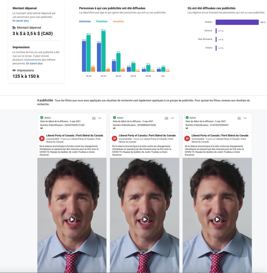 Dans certains cas, le même message a été diffusé tantôt avec le visage de Justin Trudeau, tantôt avec celui de Mélanie Joly.