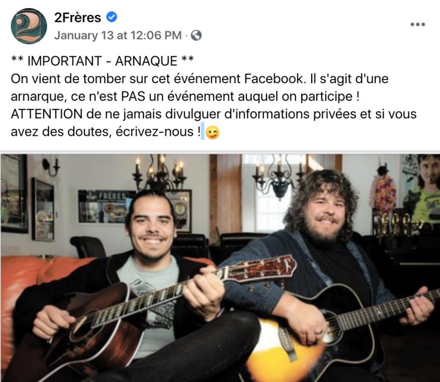 Message d'avertissement de 2Frères sur Facebook pour dénoncer l'arnaque