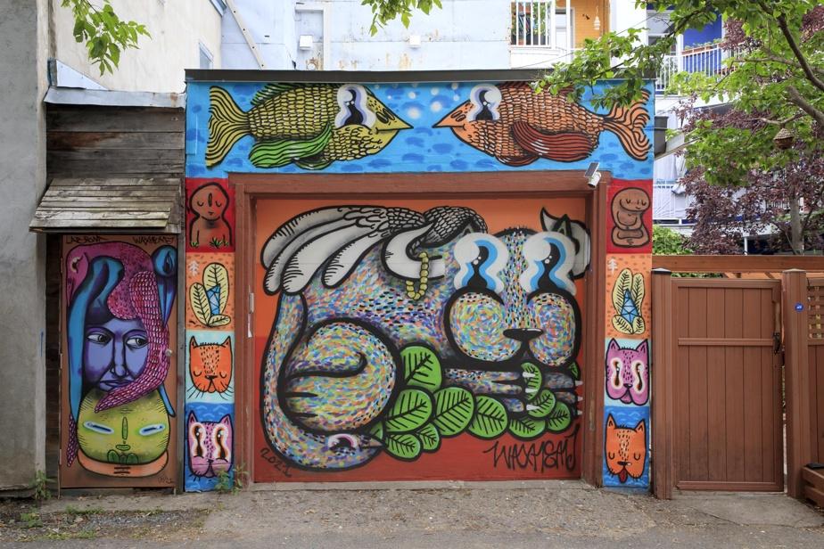 Une œuvre qui déborde de la simple porte, signée par WaxHead, un artiste qui a plusieurs garages à son actif