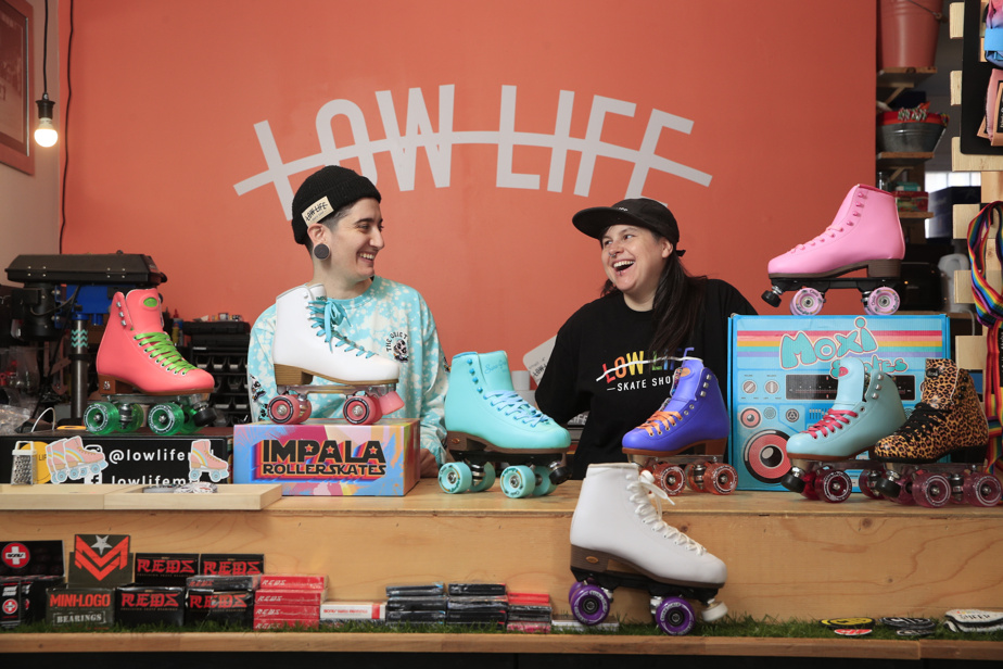 Lorriane Dicaire and Tracey Mattinson, owners of the Lowlife store, have adapted well to the demands of new customers looking for skates to dance to the drum, rather than the derby.