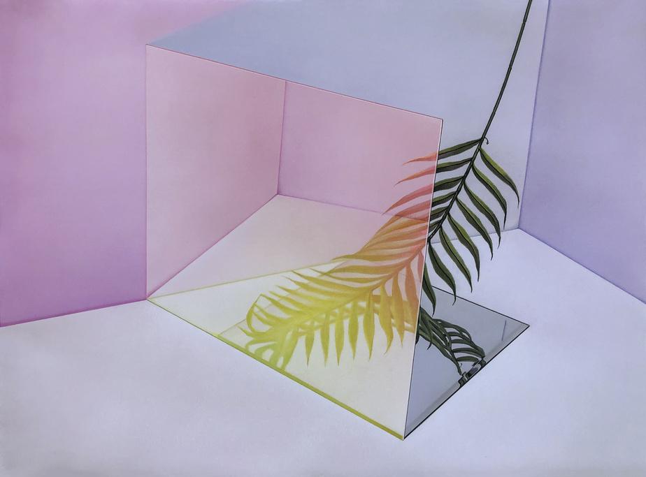 Réflexion tropicale, 2020, Maude Corriveau, pastel sec sur papier Rising Stonehenge, 56cm x 76cm. Présenté par la galerie montréalaise Nicolas Robert.