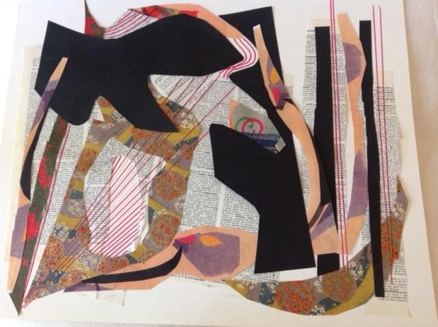 Charabia, 2020, Christiane Léaud, collage, 41cm x 51cm.