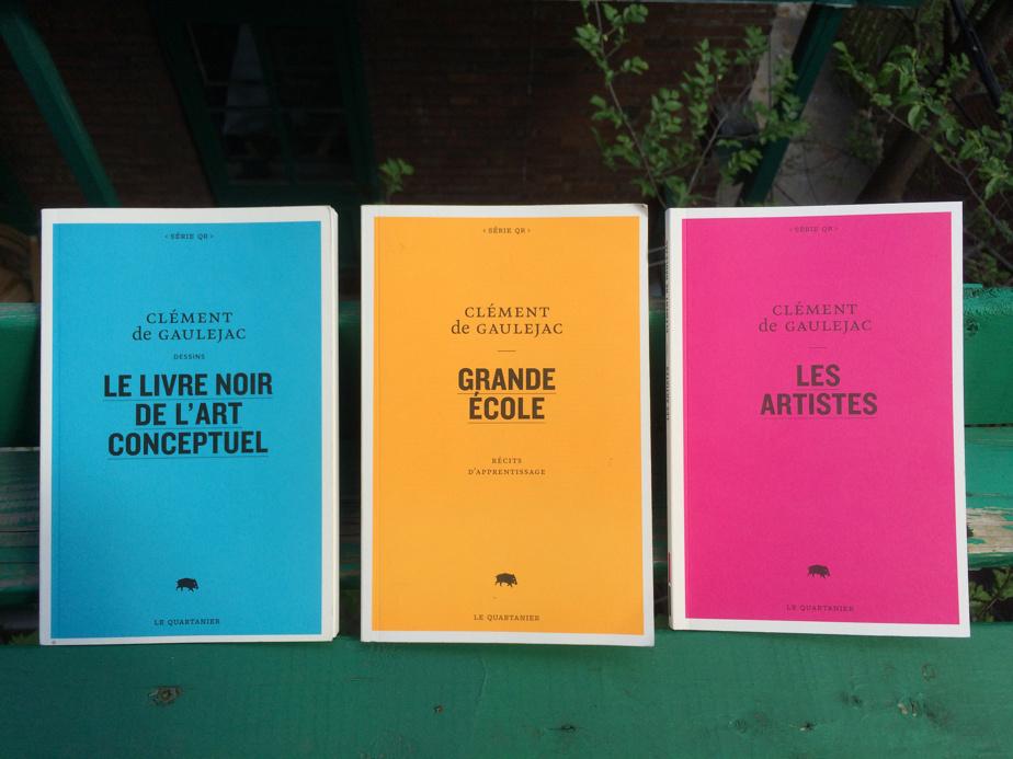Livres de Clément de Gaulejac publiés par Le Quartanier: Le Livre noir de l'art conceptuel (2011), Grande école (2012) et Les artistes (2017)