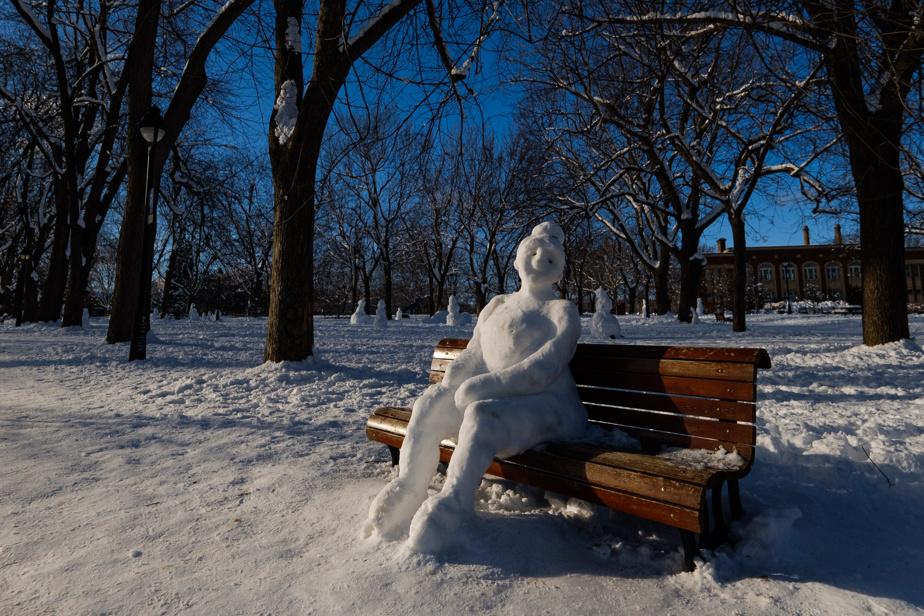 Particulièrement malléable, la neige mouillée qui est tombée la fin de semaine dernière a permis de réaliser des sculptures parfois assez réalistes, comme celle-ci au parc Laurier, sur le Plateau Mont-Royal.