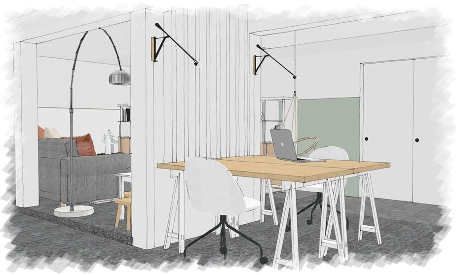 Les gens ressentent le besoin de s'installer correctement et désirent créer un véritable espace de travail chez eux, constate Anne Tremblay, cofondatrice de Hop Déco. Dans ce sous-sol, les colonnes ont été mises à profit pour délimiter le coin réservé au travail.