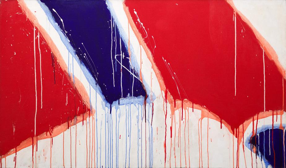 Sans titre (série Bleu, blanc, rouge), 1976, Serge Lemoyne (1941-1998), acrylique sur toile, 101,6cm x 172,7cm. Estimation: entre 50000$ et 70000$.