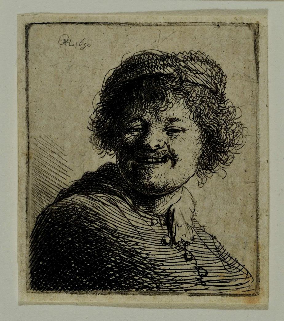 Rembrandt riant, 1630, Rembrandt van Rijn, eau-forte avec pointe sèche, planche: 5cm x 4,2cm; feuille: 5,2cm x 4,7cm. Collection Meakins-McClaran.