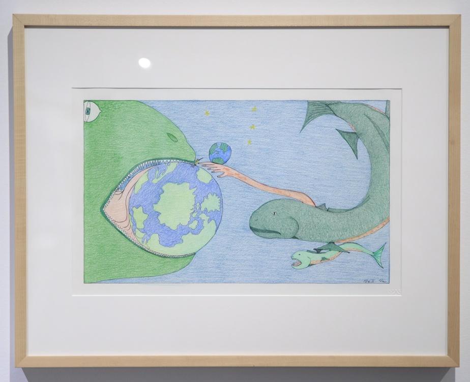 Composition (Monstre mangeant le Monde), 2018, Shuvinai Ashoona (1961-), crayon de couleur, crayon feutre. Collection MBAM.