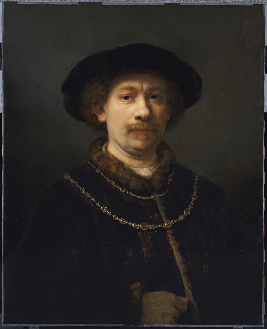 Autoportrait au chapeau et aux deux chaînes, v. 1642-1643, Rembrandt van Rijn, huile sur panneau, 72cm x 54,8cm. Museo Nacional Thyssen-Bornemisza, Madrid.