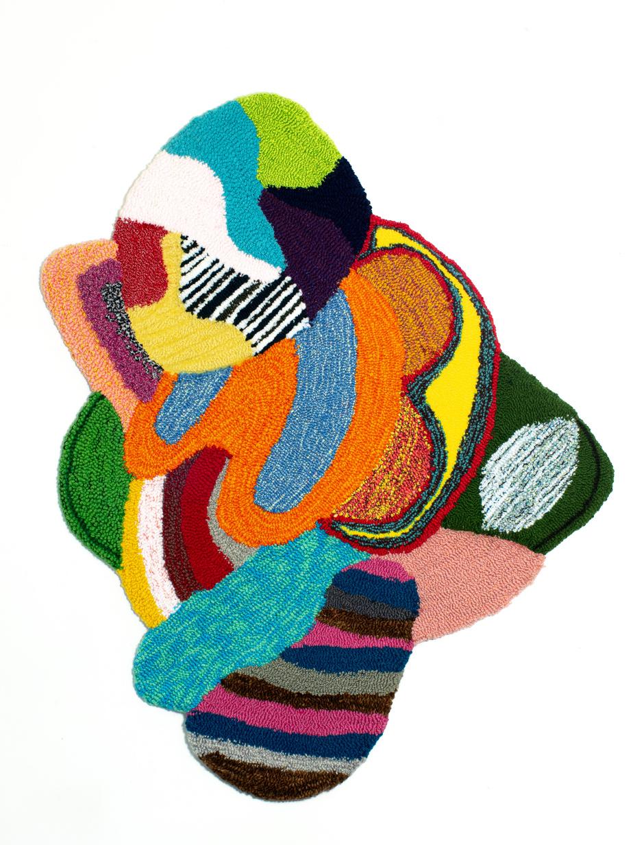 Remous, 2020, Valérie Gobeil, touffetage sur coton, 38po x 30po