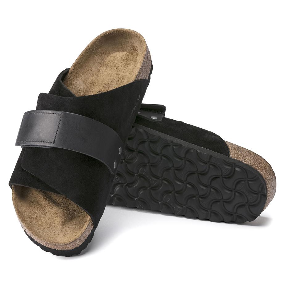 Modèle Kyoto, suède et cuir, noir, 180$