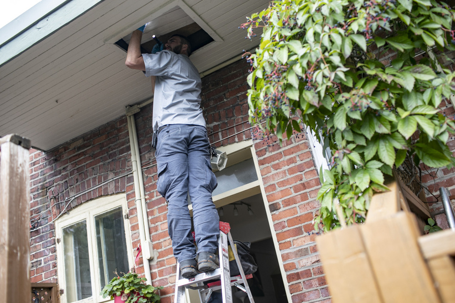 Il avait conseillé à sa cliente de faire calfeutrer le mur extérieur et l'entretoit pour couper le passage aux rongeurs. Il inspecte le travail d'isolation pour s'assurer qu'aucun passage ne subsiste.
